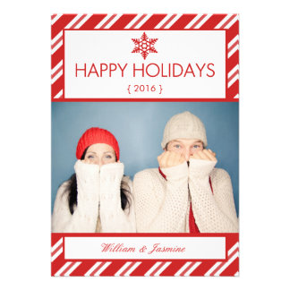 Candy Cane Photo Holiday Flat Card