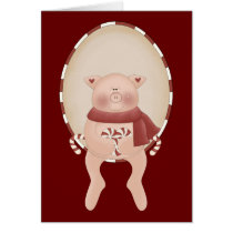 Candy Cane Pig Card