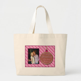 Candy Cane Pink Christmas Ornament Large Tote Bag