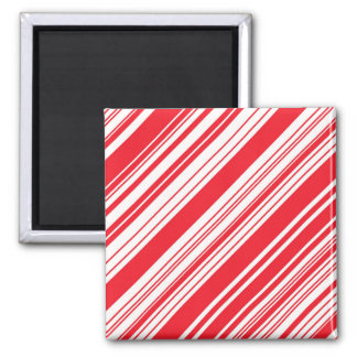 Candy Cane Red and White Diagonal Multi Stripes Magnet
