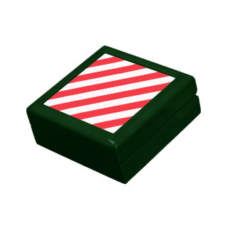 Candy Cane Red and White Diagonal Stripes Keepsake Box