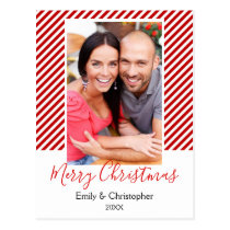Candy Cane Red and White Stripes Christmas Photo Postcard