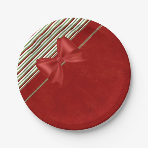 Candy Cane Red Bow Paper Plate
