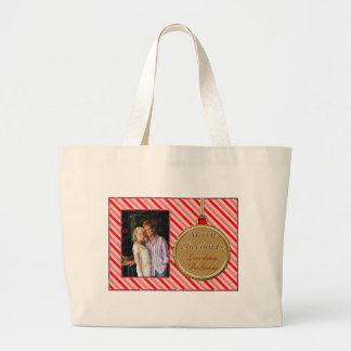 Candy Cane Red Christmas Ornament Large Tote Bag