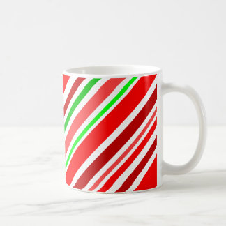 Candy Cane Red Green White Stripes Festive Coffee Mugs