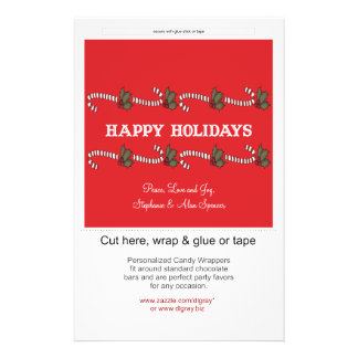 Candy Cane Red Holiday Candy Wrappers Flyer