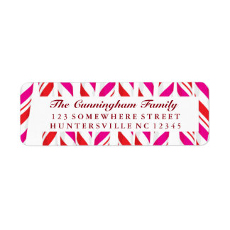 Candy Cane Red & Pink Background Label
