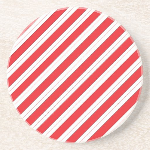 Candy Cane Red Stripes Beverage Coaster