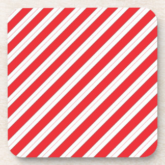 Candy Cane Red Stripes Drink Coaster