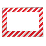 Candy Cane Red Stripes Picture Frame Magnet