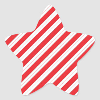 Candy Cane Red Stripes Star Sticker