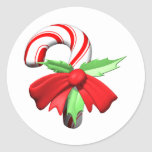 Candy Cane Round Stickers