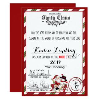 Candy Cane Santa Claus Nice List Card