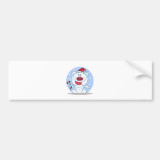 candy cane santa polar bear silly car bumper sticker