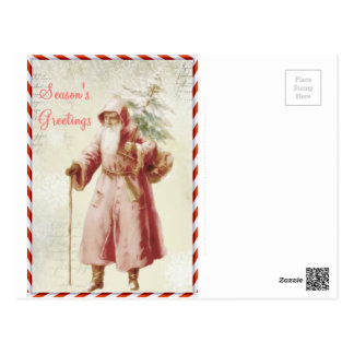 candy cane santa post card