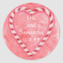 Candy Cane Save the Date Stickers sticker