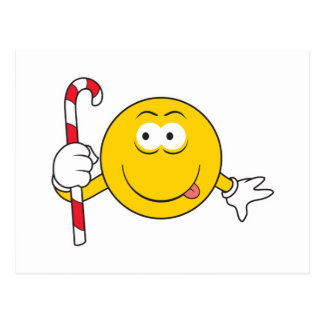 Candy Cane Smiley Face Postcard