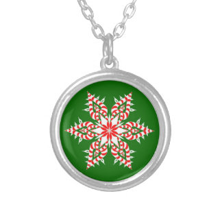 Candy Cane Snowflake - Necklace