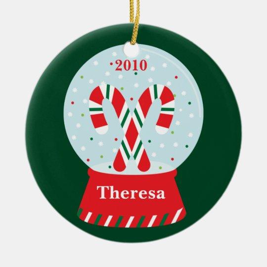 Candy Cane Snowglobe Christmas Ornament