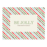 Candy Cane Stripe And Damask  Holiday Postcards