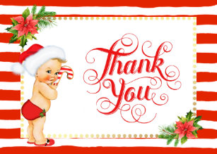 candy cane stripe christmas thank you card - Christmas Thank You Cards