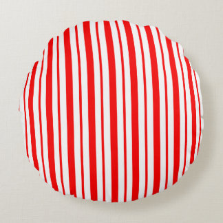 """Candy Cane Stripe"" Holiday Round Pillow"