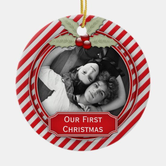 Candy Cane Stripe Holly 1st Christmas Together | Ceramic Ornament