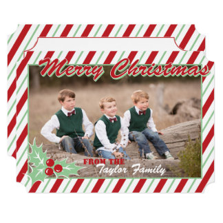Candy Cane Stripe Personalize Christmas Photo Card