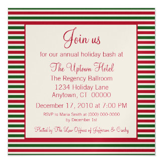 Candy Cane Striped Holiday Party Invitation