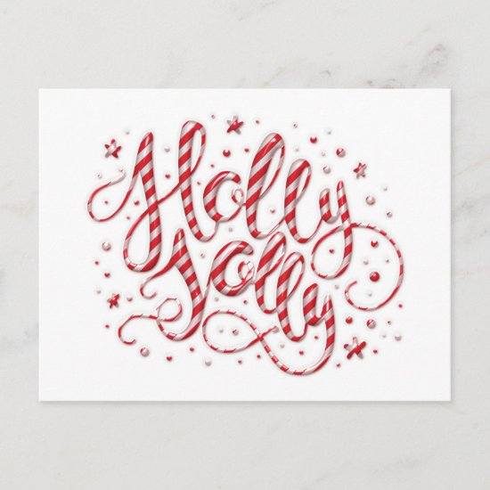 Candy Cane Striped Holly Jolly Open House   Holiday Postcard