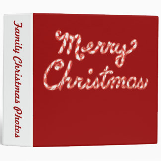 Candy Cane Striped Merry Christmas Binders