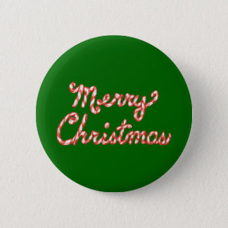 Candy Cane Striped Merry Christmas Button