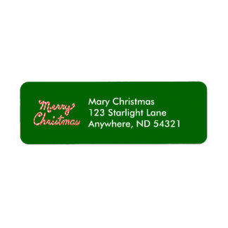 Candy Cane Striped Merry Christmas Label