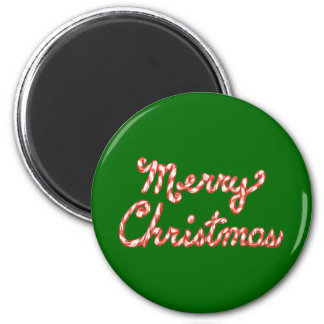 Candy Cane Striped Merry Christmas Refrigerator Magnets