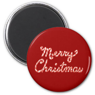 Candy Cane Striped Merry Christmas Magnet