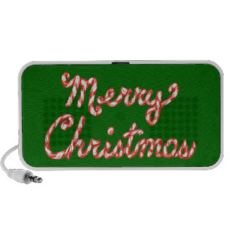 Candy Cane Striped Merry Christmas Notebook Speaker