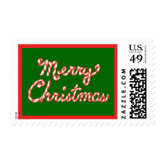 Candy Cane Striped Merry Christmas Postage