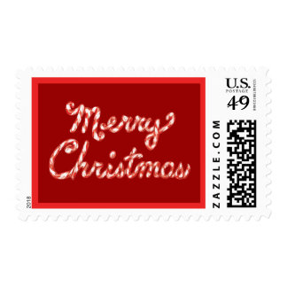 Candy Cane Striped Merry Christmas Postage Stamp