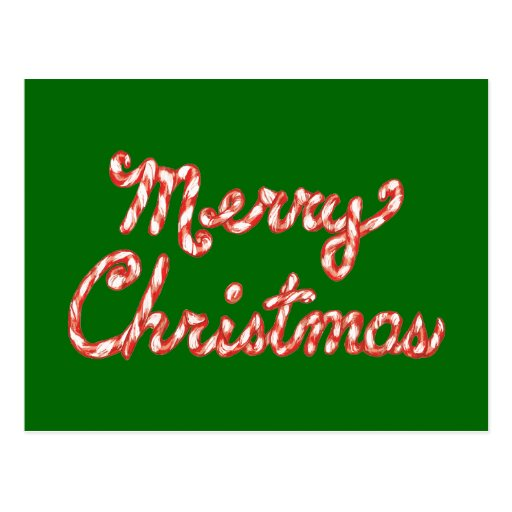 Candy Cane Striped Merry Christmas Postcards
