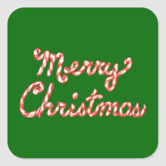 Candy Cane Striped Merry Christmas Square Sticker