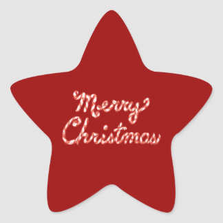 Candy Cane Striped Merry Christmas Star Sticker