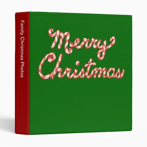 Candy Cane Striped Merry Christmas Vinyl Binders