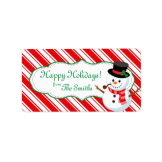 Candy Cane Striped Snowman Gift Tag