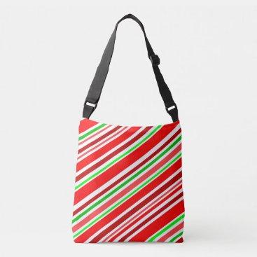 Candy Cane Stripes Christmas Cheer Holiday Crossbody Bag