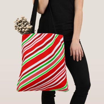 Candy Cane Stripes Christmas Cheer Holiday Tote Bag