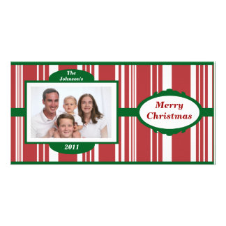 Candy Cane Stripes Family Photo Christmas Card