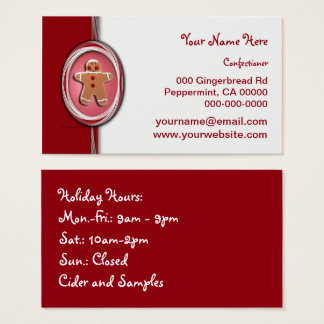 Candy Cane Stripes Gingerbread Business Card