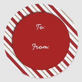 Candy Cane Stripes Holiday Gift Tag Sticker