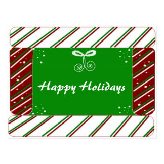 Candy Cane Stripes Holiday Greetings Postcard