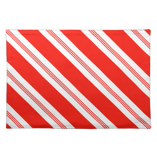 Candy Cane Stripes Holiday Pattern Cloth Placemat
